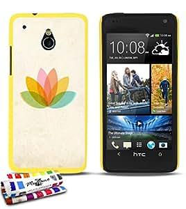 MUZZANO-Carcasa ultrafina para HTC ONE MINI ultrafina, diseño de lotus_pastel protección contra los impactos, ELEGANTE, resistente, 1 lápiz óptico y 1 gamuza de limpieza MUZZANO, compatible con HTC One Mini, color amarillo