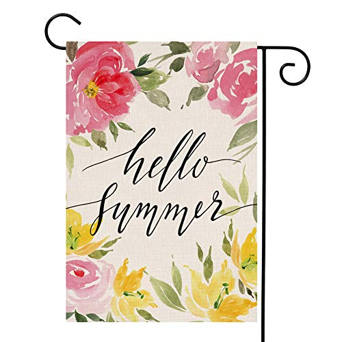 Green Summer Garden - Watercolor Hello Summer Flower Small Garden Flag Farmhouse Pink Yellow Floral Green Leaves Burlap Vertical Double Sided Yard Decoration 12.5 x 18 Inch