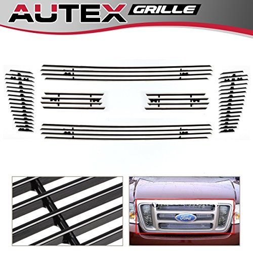 AUTEX Main Upper Billet Grille Insert Compatible with Ford F150 2004 2005 2006 2007 2008 Grill F65726A