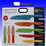Hampton Forge Tomodachi 16pc Knife Set (8 Knives and 8 Blade Guards) Includes Bonus Silicone Spatula - Total 17 Piece Bundle