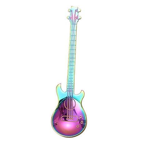 TAOtTAO Stainless Steel Guitar Spoons Rainbow Coffee Tea Spoon Flatware Drinking Tools