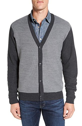 Cutter & Buck Men's Cornish Cardigan Sweater, Charcoal Heather, X-Large