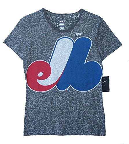 Nike Sheer T-shirt - Nike Montreal Expos Women's Slim Fit Size X-Large (XL) Oversized Team Logo Cooperstown Collection Cap Sleeve Shirt - Sheer Charcoal Gray