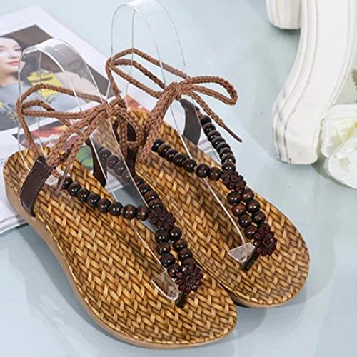 Sandals Shoes Sandals Flat Women Brown Beaded Drawstring Fullkang Women Beach Bohemia for v8xwdHHS
