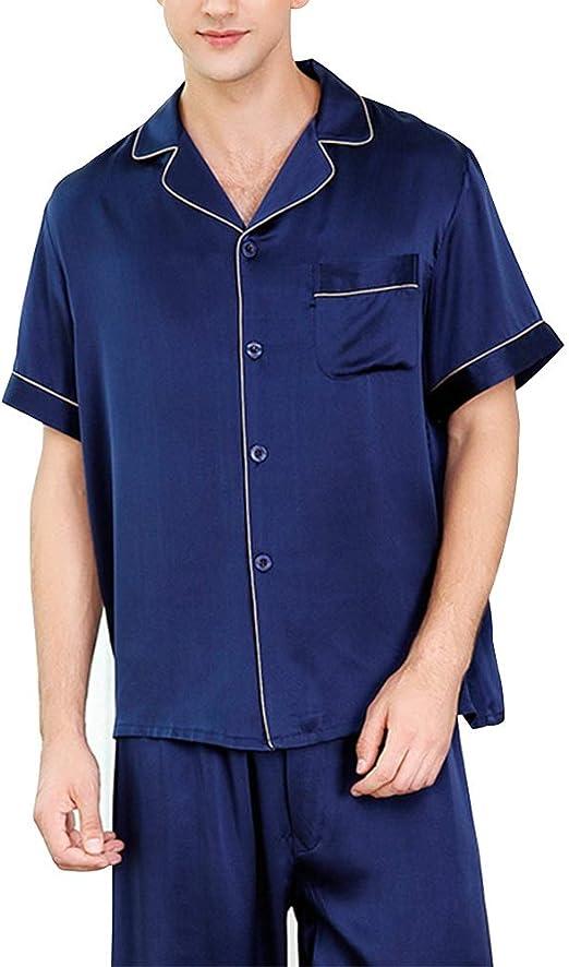 HONGNA Conjunto De Pijamas For Hombre Camisa Azul Oscuro Pantalones De Manga Corta 2 Juegos De 100% Tejido De Seda Servicio De Hogar Informal Traje (Color : Blue, Size : M): Amazon.es: Hogar