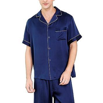 HONGNA Pijamas para Hombres con Camisa Azul Marino Pantalones De Manga Corta 2 Juegos De Traje