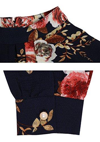 Primavera Boyfriend dark Camicia Lunghe Inverno Casual Per Maniche Bluse Autunno Di Abollria Fiori Blu Classici Stile Quadri Donna Flanella A R66Ufpqw
