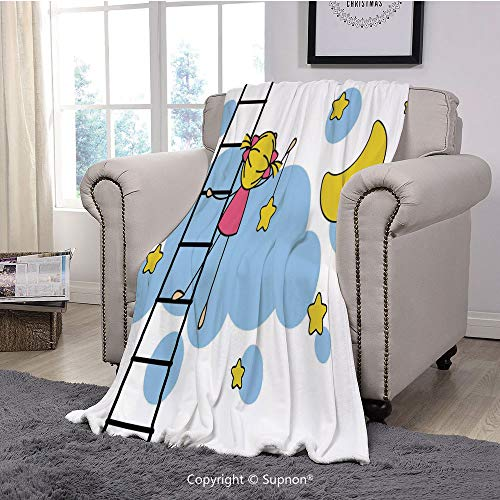 Soft Fuzzy Light Blanket,Star,Cute Girl on Ladder Hanging a Star in The Night Sky with Half Moon Cartoon Picture,Yellow Blue(51