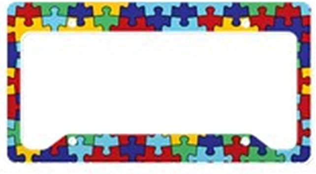 Graphics and More Blank Autism Awareness Puzzle Piece Pattern License Plate Frame