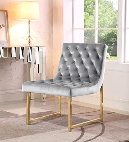 Iconic Home Moriah Accent Chair Sleek Elegant Tufted Velvet Upholstery Plush Cushion Brass Finished Polished Metal Frame