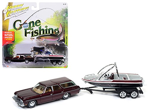 - 1973 Chevrolet Caprice Station Wagon Dark Red Poly with Malibu Boat Gone Fishing 1/64 Model Car by Johnny Lightning