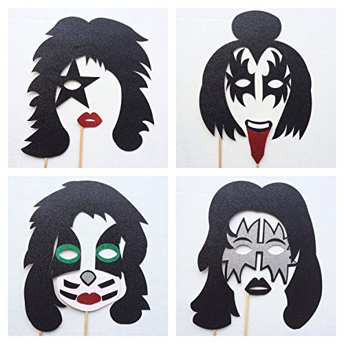 Kiss Photo Booth Props ; Rock and Roll Photo Prop ; Kiss masks 70s Party ; 80s Party ; Wedding Photo Booth Props ()