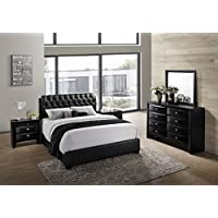 Roundhill Furniture Blemerey 110 Wood Bonded Leather Bed Group with King Bed, Dresser, Mirror and 2 Night Stands, Black