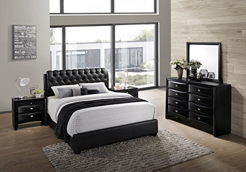 Find Bargain Roundhill Furniture Blemerey 110 Wood Bonded Leather Bed Group with King Bed, Dresser, ...