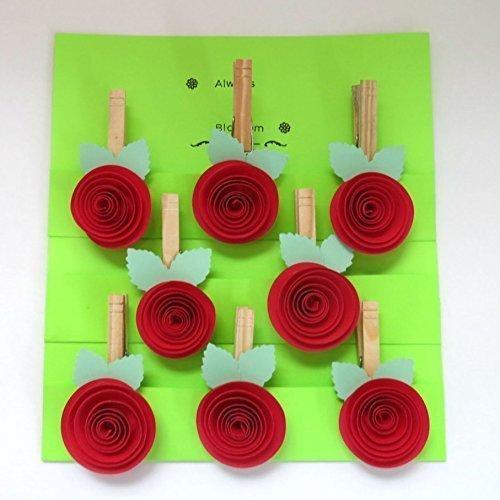 Red Rose Paper Flower Magnetic Bag Clips, Set of 8 Rosette Clothespin Magnets, Wedding Favors, Bridal Shower Decor, Card Holder, Garland Hanger Decorations (Holders Garland)
