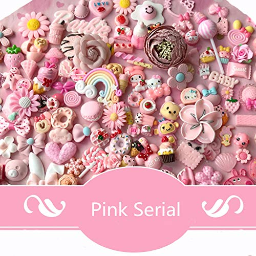 AMOBESTER 50pcs DIY Craft Making Resin Decoden Charms Jewery Making Kit/Set Slime Charms Princess Pink Series ()
