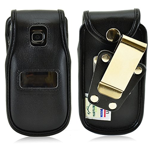 turtleback-tracfone-alcatel-a392g-flip-phone-fitted-case-made-in-usa-black-leather-rotating-metal-cl