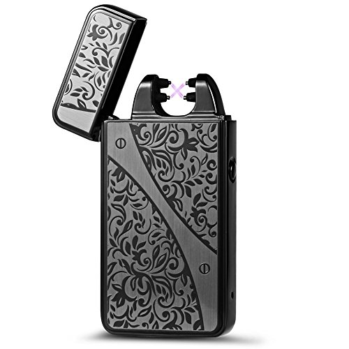 Kivors Arc Lighter - USB Rechargeable Windproof Dual Arc Lighter Electronic Plasma Lighter with Charging Cable and Gift Box