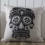 LINKWELL Skull Halloween All Hallows' Eve Linen Cushion Cover Pillow Case Mexican Day of the Dead Calavera All Souls Day D¨ªa De Muertos by LINKWELL