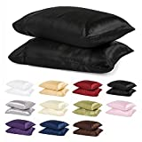 2pc New Queen/Standard Size Or King Size Silk~y Satin Pillow Case Multiple Colors By Orly's Dream. (Standard/Queen, Black)