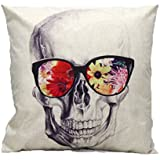 CoKate Halloween Skulls Personality Pillowcase Sofa Home Decorative Skeletons Cushion Cover Cotton Linen Square 18 X 18 Inch (B)