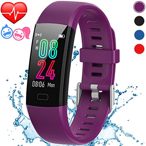 Inspiratek Kids Fitness Tracker for Girls and Boys (Age 5-16) - Waterproof Fitness Watch for Kids with Heart Rate Monitor, Sleep Monitor, Calorie Counter and More- Kids Activity Tracker (Purple)