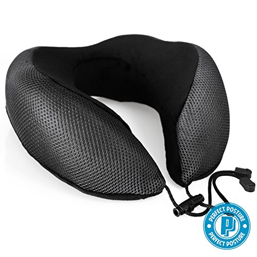 NEW DESIGN Travel Neck Pillow by Perfect Posture: #1 Recommended, NeverFlat Memory Foam, AngelSoft Fabric, CoolTec side mesh, Premium Materials, Adjustable Tie
