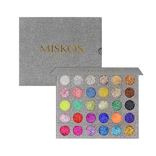 MISKOS Glitter Eyeshadow Pallet 30 Colors Highly Pigmented Mineral Foiled Long-Lasting Shimmer Powder Eye Shadow Palette Waterproof Makeup Kit for $<!--$19.99-->