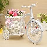 Bluelover Grande Rattan Triciclo Bici Cestino Del Fiore Vaso Partito Bagagli Decorazione - Pink + Bianco
