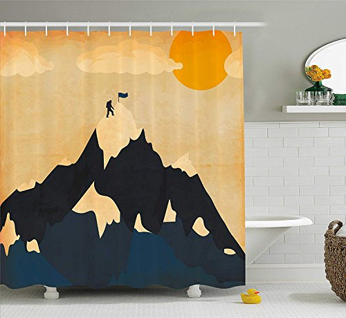 Afagahahs Vintage Shower Curtain Man on Mountaintop with Flag Snowy Winter Sun Clouds Adventure Sports Fabric Bathroom Decor with Hooks Orange Mustard Dark Blue]()