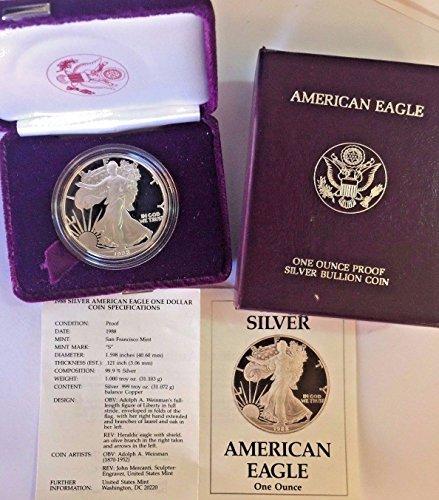 1988 1988 S 1oz Proof Silver Coin $1 American Eagle Un coin Good
