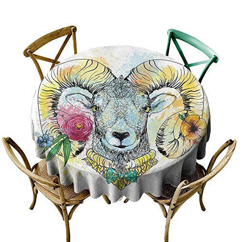 round outdoor tablecloth 39 inch Quirky Decor,Ram Head with Horns and Blossoming Spring Flowers Bow Tie Dapper Fashion Art,Multicolor Great for Buffet Table, Parties, Holiday Dinner & More