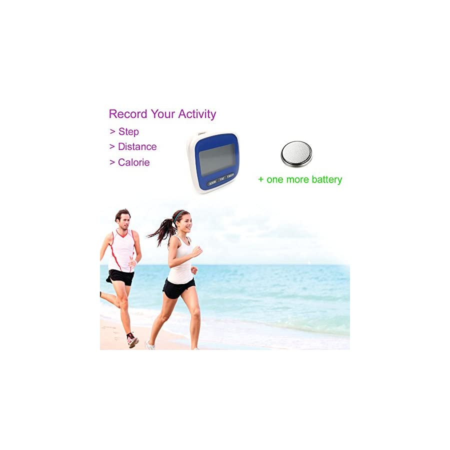 Pedometer Fitness Tracker for Walking Running Distance Step Counter by Bereezy