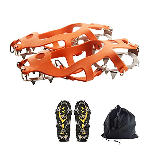 Freshday 1 Pair Non-Slip Ice Gripper Climbing Crampons Traction Cleats 19 Teeth Stainless Steel Spikes Durable Silicone Ice Creepers Shoes Cover for Walking, Jogging, Hiking on Snow and Ice