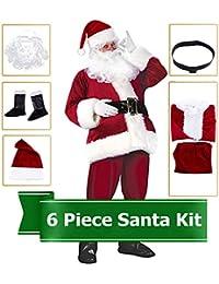 Santa Claus Costume Plush Christmas Costume for Men, Luxury Santa Suits Cosplay Santa Outfit, 6 Pieces