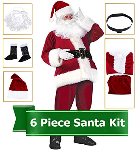 (Christmas Santa Claus Costume Deluxe Santa Suit Christmas Onesie Set,)