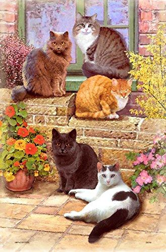 Samuel Lamont Cotton Tea Towel - Floral Cats Print
