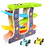 HOWADE Wooden Race Track Car Playsets,Baby Kids Wooden Ladder Gliding slot Track Car Toys 4 Mini Racing Cars Set Kids Toddlers