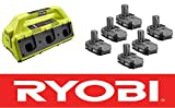 Ryobi One Plus 18-Volt 6-Port Super Charger P135 + (6) Batteries P102