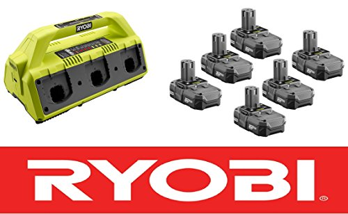 Ryobi One Plus 18-Volt 6-Port Super Charger P135 + (6) Batteries P102 by Ryobi