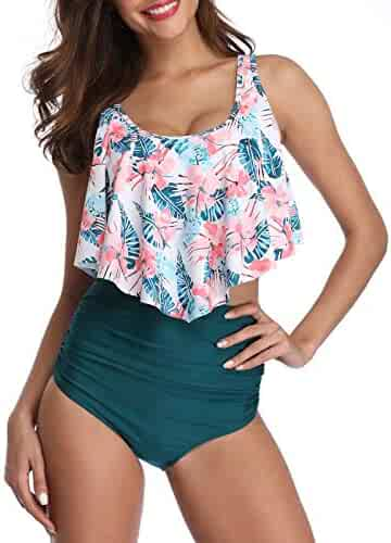 245c7e5c61 Bikini Swimsuit for Women High Waisted Swimsuits Tummy Control Two Piece Tankini  Ruffled Top with Swim