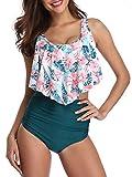 Bikini Swimsuit for Women High Waisted Swimsuits Tummy Control Two Piece Tankini Ruffled Top with Swim Bottom Bathing Suits Dark Green M