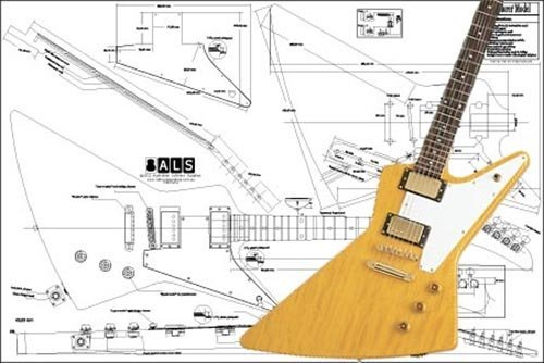 Plan of Gibson Explorer Electric Guitar - Full Scale Print