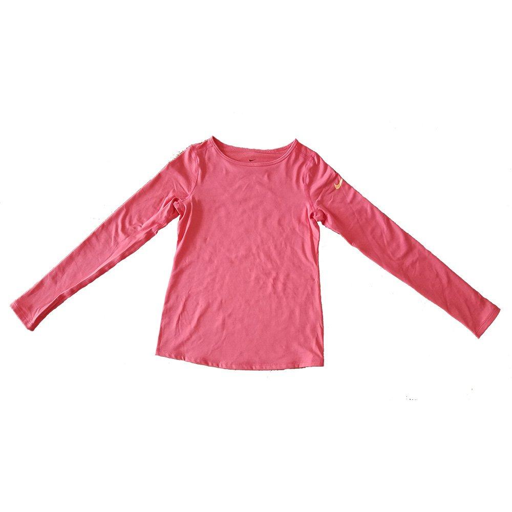 NIKE Girl's Dri-Fit Pro Warm Long Sleeve Training Shirt Orange 915369 850 (l)