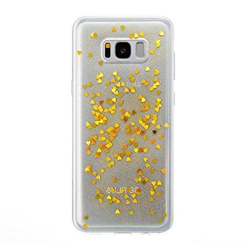 Suave Galaxy S8 Silicona Funda, Ultra Thin Samsung Galaxy S8 Case Caso PLECUPE Lujo Sparkle Brillo Case con Corazón Bling Brillante Silicone Goma Cover Cárcasa, Ultra Fina Delgada Flexible Soft TPU Ru Oro