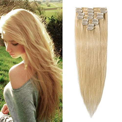 "Price comparison product image #613 100% Real Remy Clip in Human Hair Extensions Bleach Blonde 16-22inch Grade AAAAA Natural Hair Full Head Standard Weft 8 Pieces 18 Clips Long Smooth Soft Silky Straight 16"" /16 inch 65g"