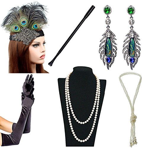 IETANG 1920s Accessories Themed Costume Mardi Gras Party Prop Additions to Flapper Dress (M)