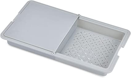 Yemiany tabla de cortar cocina,tabla de cortar plegable,Tabla de corte multifuncional 3 en 1 sobre el fregadero Tabla de corte extraíble de doble cara ...