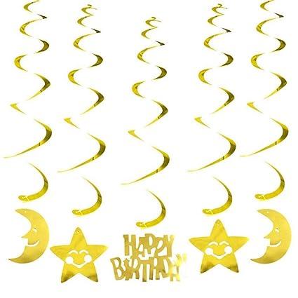 6PC Party Decoration Metallic Ceiling Hanging Swirl Birthday Wedding Baby Shower