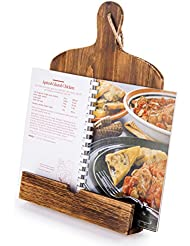 Cutting Board Style Wood Recipe Cookbook iPad Tablet Stand Holder Stand with Kickstand, Brown